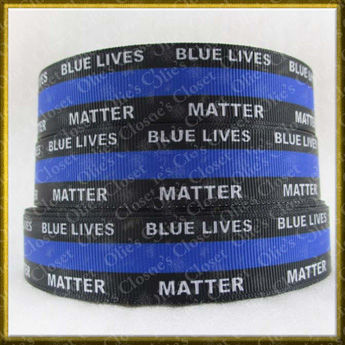 Blue,Lives,Matter,Police,Awareness,Grosgrain,Ribbon,Blue Lives Matter Police Awareness Grosgrain Ribbon