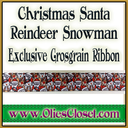 Christmas,Santa,Snowman,Reindeer,Olie's,Closet,Exclusive,Ribbon,Christmas Santa Snowman Reindeer Olie's Closet Exclusive Ribbon