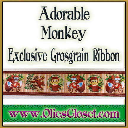 Adorable,Monkey,Olie's,Closet,Exclusive,Grosgrain,Ribbon,Adorable Monkey Olie's Closet Exclusive Grosgrain Ribbon