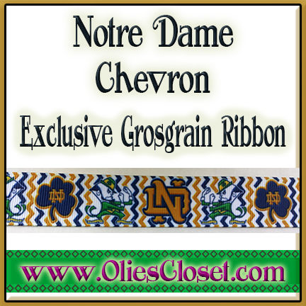 Notre,Dame,Chevron,Olie's,Closet,Exclusive,Grosgrain,Ribbon,Notre Dame Chevron Olie's Closet Exclusive Grosgrain Ribbon