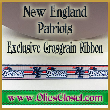 New,England,Patriots,Olie's,Closet,Exclusive,Grosgrain,Ribbon,New England Patriots Olie's Closet Exclusive Grosgrain Ribbon