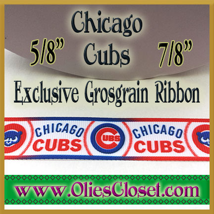 Chicago,Cubs,Olie's,Closet,Exclusive,Grosgrain,Ribbon,Chicago Cubs Olies Closet Exclusive Grosgrain Ribbon