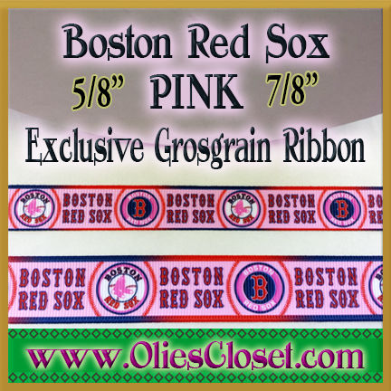 Boston,Red,Sox,PINK,Olie's,Closet,Exclusive,Grosgrain,Ribbon,PINK Boston Red Sox Olies Closet Exclusive Grosgrain Ribbon