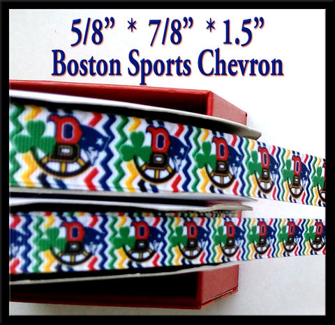Boston,Sports,Collage,Chevron,Olie's,Closet,Exclusive,Grosgrain,Ribbon,Boston Sport Collage Chevron Olies Closet Exclusive Grosgrain Ribbon