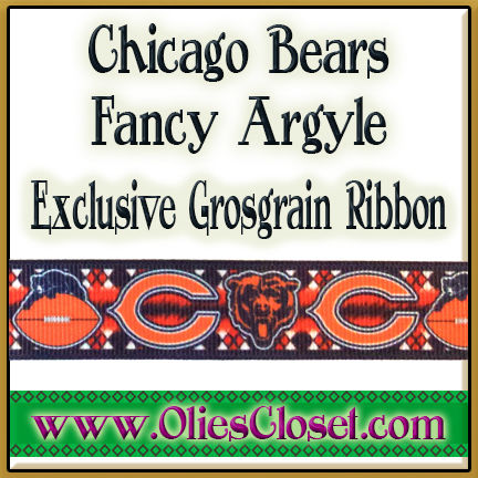 Chicago,Bears,Fancy,Argyle,Olie's,Closet,Exclusive,Grosgrain,Ribbon,Chicago Bears Fancy Argyle Olies Closet Exclusive Grosgrain Ribbon