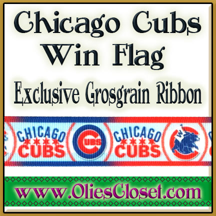 Chicago,Cubs,Win,Flag,Olie's,Closet,Exclusive,Grosgrain,Ribbon,Chicago Cubs Win Flag Olies Closet Exclusive Grosgrain Ribbon