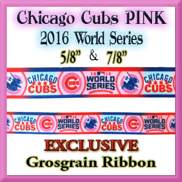 Chicago,Cubs,PINK,2016,World,Series,OC,Exclusive,Grosgrain,Ribbon,Chicago Cubs PINK 2016 World Series Olies Closet Exclusive Grosgrain Ribbon