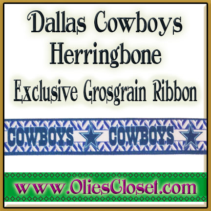 Dallas,Cowboys,Herringbone,Olie's,Closet,Exclusive,Grosgrain,Ribbon,Dallas Cowboys Herringbone Olies Closet Exclusive Grosgrain Ribbon