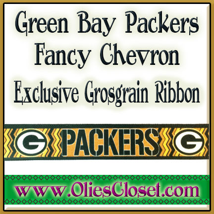 Green,Bay,Packers,Fancy,Chevron,OC,Exclusive,Grosgrain,Ribbon,Green Bay Packers Fancy Chevron Olies Closet Exclusive Grosgrain Ribbon