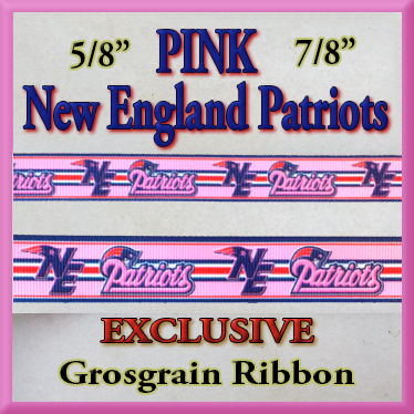 New,England,Patriots,PINK,Olie's,Closet,Exclusive,Grosgrain,Ribbon,New England Patriots Olie's Closet Exclusive Grosgrain Ribbon
