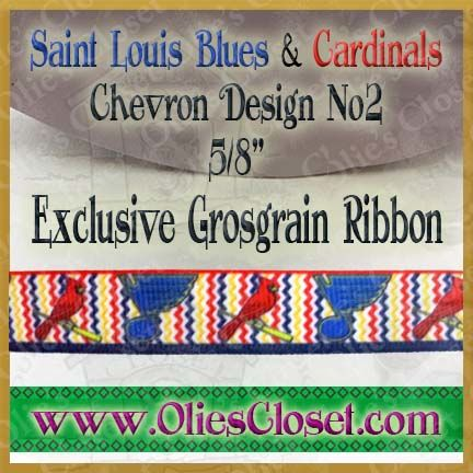 Saint,Louis,Cardinals,&,Blues,Chevron,No2,Olie's,Closet,Exclusive,Grosgrain,Ribbon,Saint Louis Cardinals & Saint Louis Blues Chevron Design No2 Olies Closet Exclusive Grosgrain Ribbon