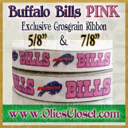 Buffalo,Bills,PINK,Olie's,Closet,Exclusive,Grosgrain,Ribbon,Buffalo Bills PINK Olies Closet Exclusive Grosgrain Ribbon