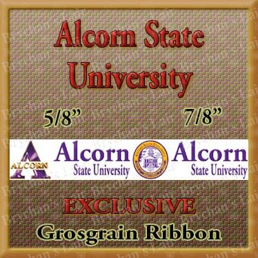 Alcorn,State,University,Grosgrain,Ribbon,Alcorn State University, mlb grosgrain ribbon, nfl grosgrain ribbon, nba grosgrain ribbon, ncaa grosgrain ribbon, nhl grosgrain ribbon, custom printed grosgrain ribbon, designer grosgrain ribbon, team grosgrain ribbon