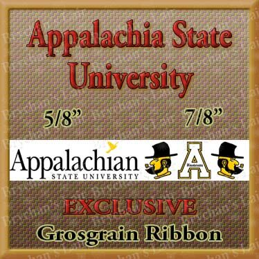 Appalachian,State,University,Custom,Designed,Grosgrain,Ribbon,Appalachian State University USA Made Custom Designed Grosgrain Ribbon, mlb grosgrain ribbon, nfl grosgrain ribbon, nba grosgrain ribbon, ncaa grosgrain ribbon, nhl grosgrain ribbon, custom printed grosgrain ribbon, designer grosgrain ribbon, team grosgra