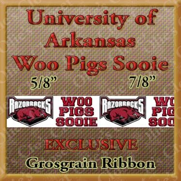 Arkansas,Razorbacks,Woo,Pigs,Sooie,Grosgrain,Ribbon,Arkansas Razorbacks Woo Pigs Sooie ribbon, mlb grosgrain ribbon, nfl grosgrain ribbon, nba grosgrain ribbon, ncaa grosgrain ribbon, nhl grosgrain ribbon, custom printed grosgrain ribbon, designer grosgrain ribbon, team grosgrain ribbon