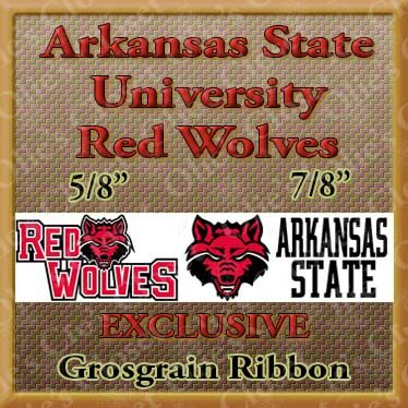 Arkansas,State,University,Red,Wolves,USA,Made,Grosgrain,Ribbon,Arkansas State University Red Wolves ribbon, mlb grosgrain ribbon, nfl grosgrain ribbon, nba grosgrain ribbon, ncaa grosgrain ribbon, nhl grosgrain ribbon, custom printed grosgrain ribbon, designer grosgrain ribbon, team grosgrain ribbon