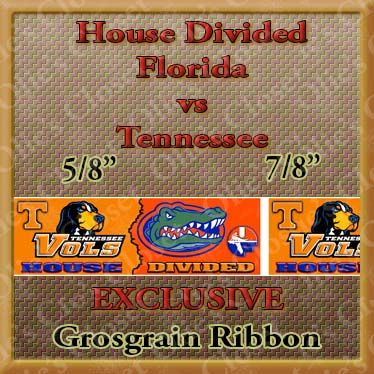 Florida,Gators,vs.,Tennesse,Vols,House,Divided,Grosgrain,Florida Gators vs. Tennesse Vols House Divided Grosgrain ribbon, mlb grosgrain ribbon, nfl grosgrain ribbon, nba grosgrain ribbon, ncaa grosgrain ribbon, nhl grosgrain ribbon, custom printed grosgrain ribbon, designer grosgrain ribbon, team gros