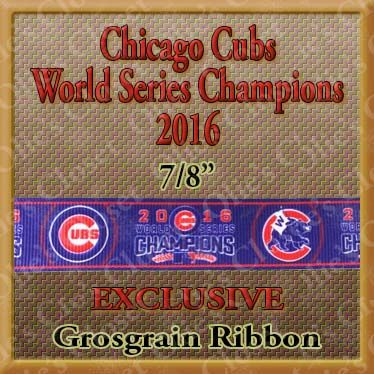 Chicago,Cubs,World,Series,Champions,Olie's,Closet,Exclusive,Grosgrain,Ribbon,Chicago Cubs World Series Champions Grosgrain Ribbon Olies Closet Exclusive Grosgrain Ribbon