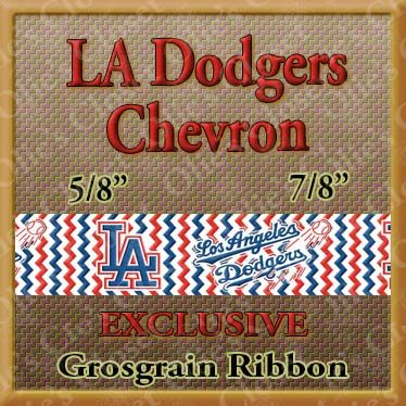 LA,Los,Angeles,Dodgers,CHEVRON,Designer,Exclusive,Grosgrain,Ribbon,Cleveland Indians, mlb grosgrain ribbon, nfl grosgrain ribbon, nba grosgrain ribbon, ncaa grosgrain ribbon, nhl grosgrain ribbon, custom printed grosgrain ribbon, designer grosgrain ribbon, team grosgrain ribbon