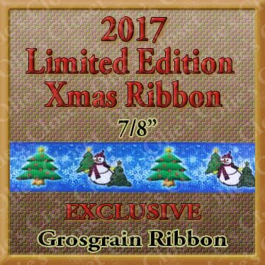 Snowman,Xmas,Trees,&,Snowflakes,2017,Annual,Limited,Edition,Christmas,Ribbon,Design,Olie's,Closet,Exclusive,Snowman Xmas Trees & Snowflakes 2017 Annual Limited Edition Christmas Grosgrain Ribbon Design Olie's Closet Exclusive Ribbon