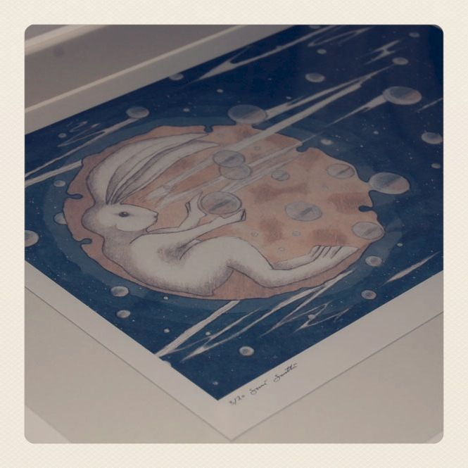 'Moon Hare' Signed LIMITED EDITION Giclee Print A3 - product images  of