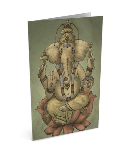 Ganesha,Card,(SINGLE),illustration, art, designed, ganesha, hindu, hinduism, pilayar, elephant, mouse, ohm, tamil, sri lanka, india, diwali, divali