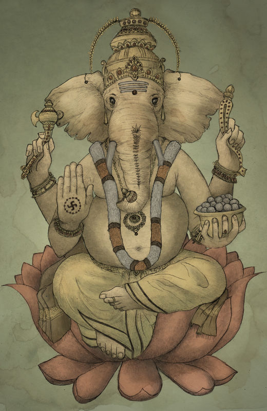 'Ganesha' Signed Giclee Print A3 - product images  of