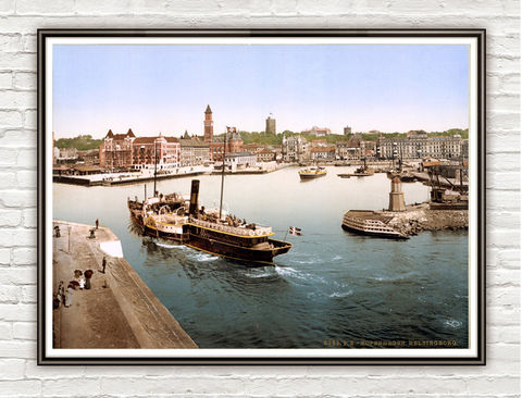 Vintage,Photo,of,Sweden,,Helsingborg,harbor,and,city,hall,1897,Art,Reproduction,Open_Edition,vintage_poster,travel_poster,picturesque,medieval,helsingborg,sweden_vintagy,sweden,sweden_retro,sweden_poster,swedish,sweden_decor