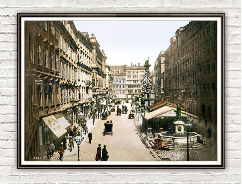 Vintage Photo of Vienna Wien, The Graben Austria 1895  OLD MAPS AND VINTAGE  -> Vintage Möbel Vienna