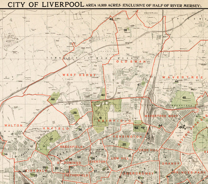 Old Map of Liverpool 1900 England