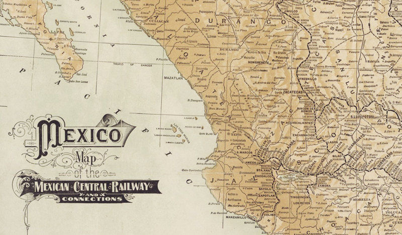old map of mexico 1910 product image