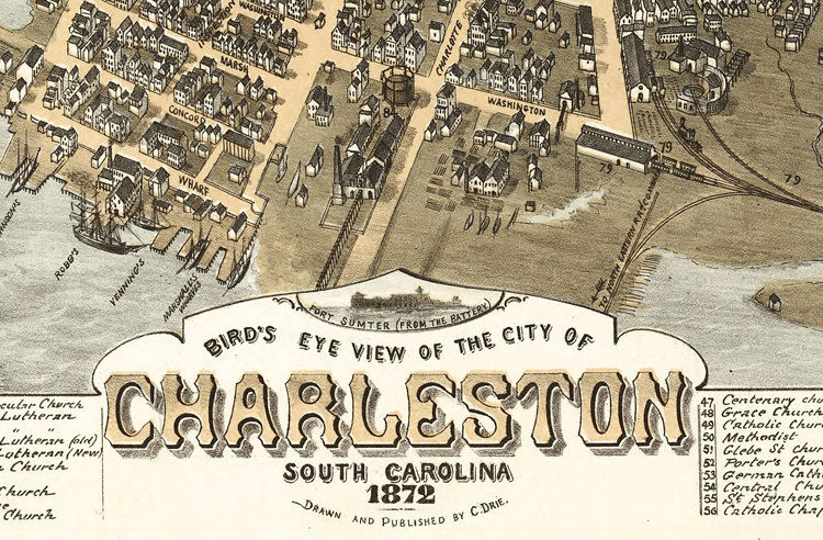 Vintage South Carolina Map.Birdseye View Vintage Map Of Charleston South Carolina 1874 Old