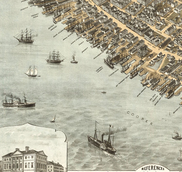 Birdseye View Vintage Map Of Charleston South Carolina