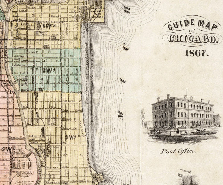 Old Vintage Map Of Chicago United States Of America OLD - 1867 us map