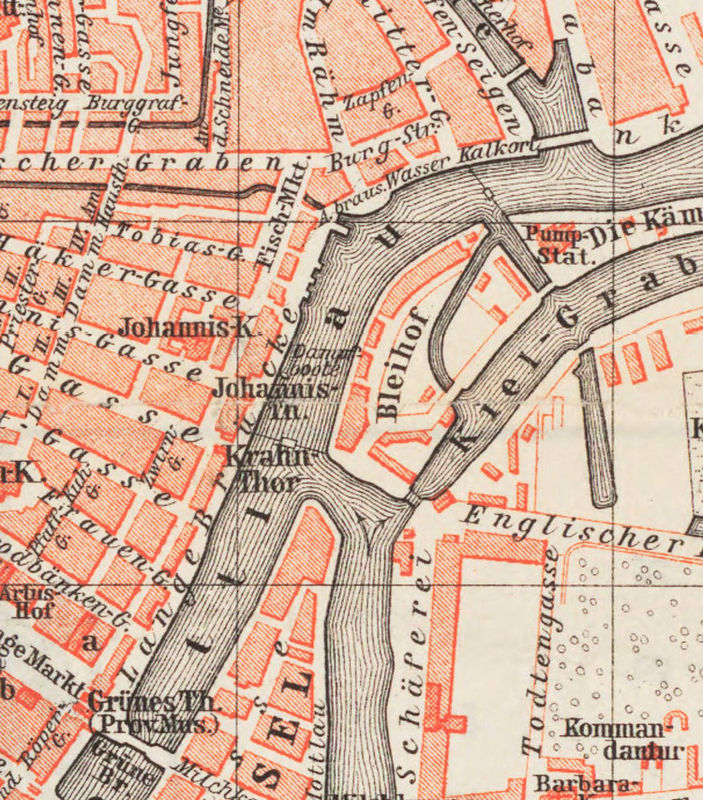 vintage Map City Plan of Gdansk Poland 1880 Vintage OLD MAPS AND