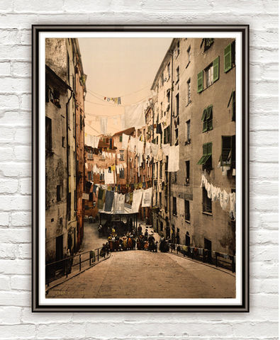Vintage,Photo,of,Genoa,Genova,Italy,Italia,1895,Art,Reproduction,Open_Edition,vintage_poster,Italia_tourism,italy,italy_vintage,travel_poster,genoa_italy,old_genoa,old_photo,public_laundry,streets,medieval_street,medieval_italy,italy_decor