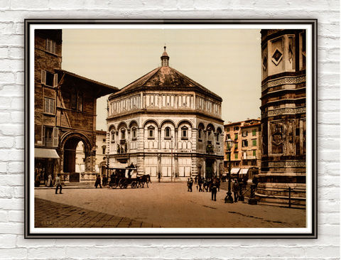Vintage,Photo,of,Florence,Baptistery,Italy,Italia,1897,Art,Reproduction,Open_Edition,vintage_poster,italy,italy_vintage,florence,tuscany,baptistery,florence_retro,old_florence,florence_vintage,florence_decor,florence_photo