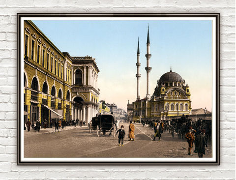 Vintage,Photo,of,Constantinople,Istanbul,Place,de,Tophane,1908,Art,Reproduction,Open_Edition,vintage_poster,travel_poster,turkey_decor,constantinople,turkey,turkey_retro,old_constantinople,Place_de_Tophane,turkish_art,poster,old_instanbul,instanbul_vintage,instanbul
