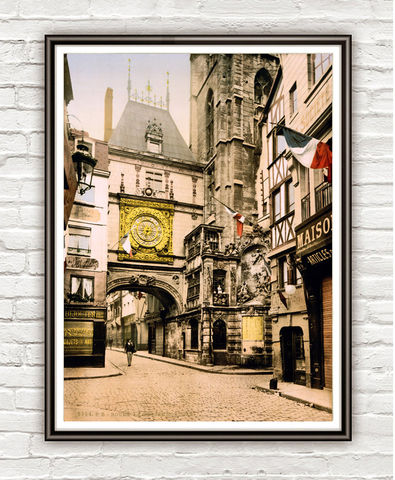 Vintage,Photo,of,Rouen,Normandy,,France,1897,Art,Reproduction,Open_Edition,vintage_poster,travel_poster,french_art,old_photo,france_decor,medieval,picturesque,vintage_photo,great_clock,Normandy