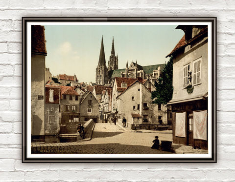 Vintage,Photo,of,Chartres,France,1895,Art,Reproduction,Open_Edition,vintage_poster,Italia_tourism,travel_poster,France_vintage,chartres,french_decor,old_france,france_medieval,france,vintage_photo,france_poster,rue_du_bourg