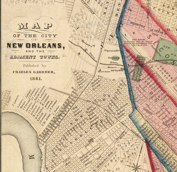 Antique New Orleans Map.Old Map Of New Orleans 1861