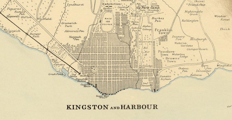 Vintage Map Of Jamaica And Kisgston Harbour Antique Map Of - Vintage map of jamaica