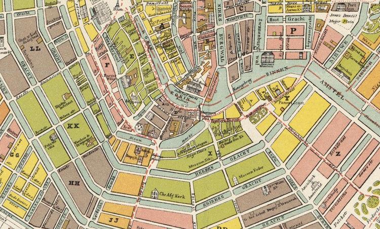 Old Vintage Map Of Amsterdam Netherlands Antique Map OLD MAPS - Amsterdam old map