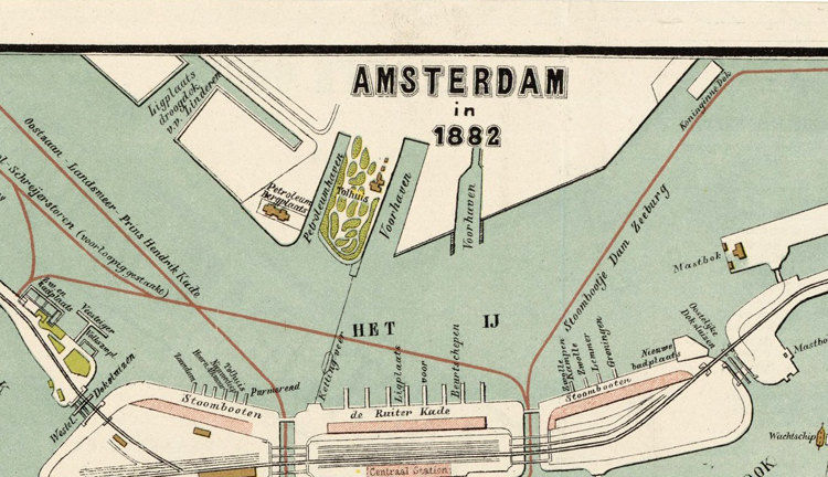 Old Vintage Map of Amsterdam, Netherlands 1882 Antique Vintage Map - product image