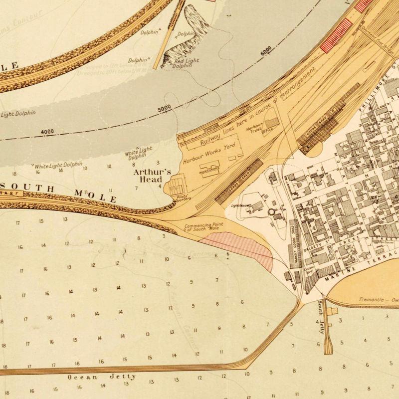 Vintage map of Fremantle Port Harbour and Perth Australia 1904