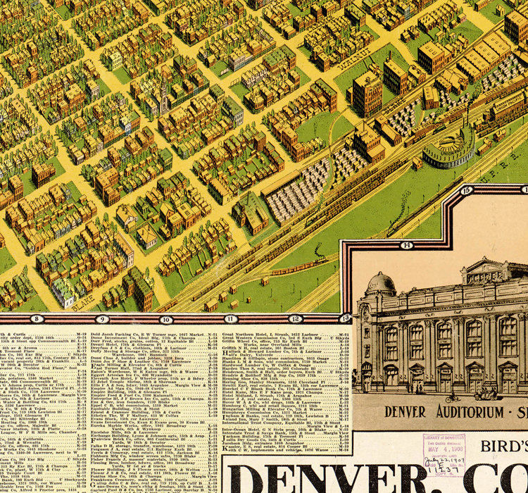 BirdsEye View Old Map Of Denver Colorado United States 1908 OLD - Us Map 1908