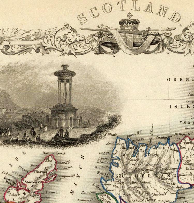 Old Map of Scotland 1851 Vintage Look North britain