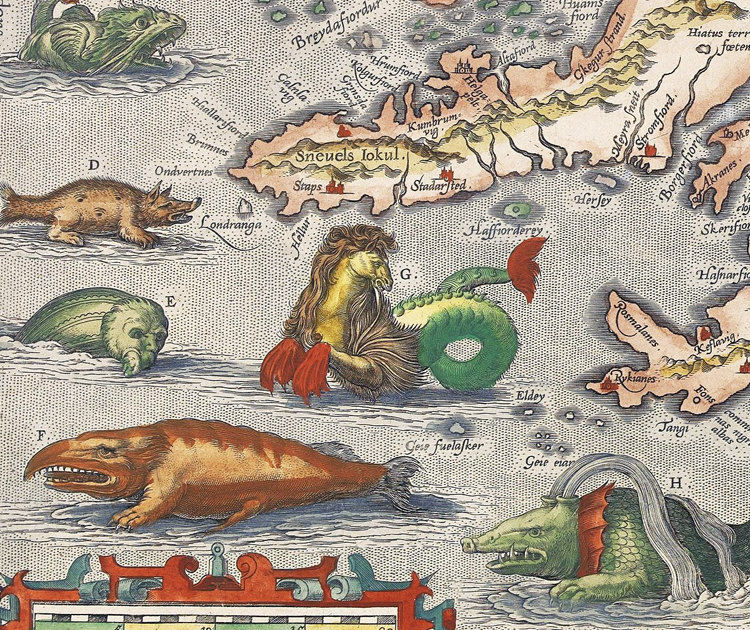 Old map of iceland islandia 1542 island sea monsters old maps old map of iceland islandia 1542 island sea monsters product image gumiabroncs Images