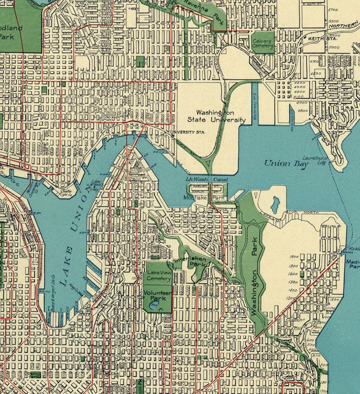 Old Map of Seattle 1924 Washington