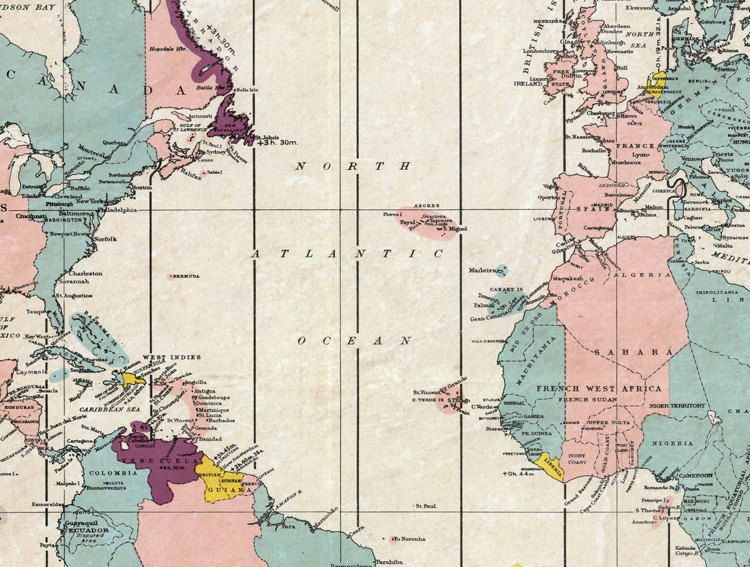 Old world map atlas time zone chart old maps and vintage prints old world map atlas time zone chart product image sciox Image collections